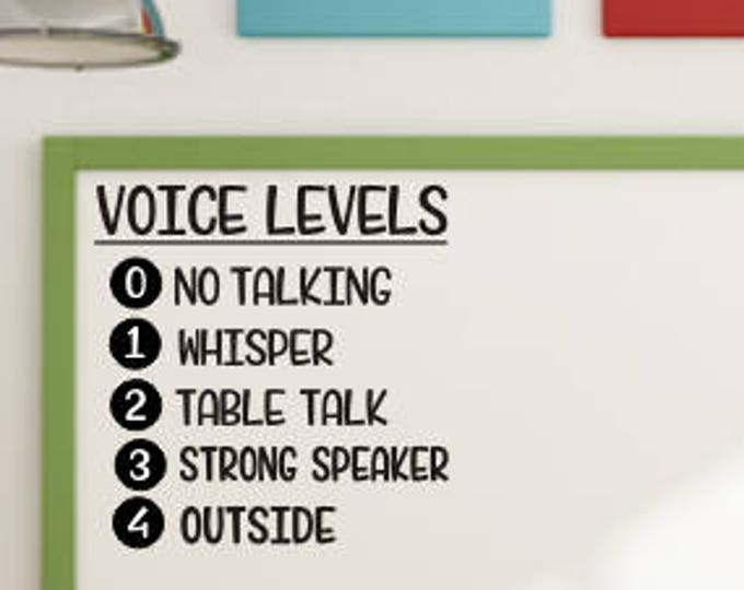 Voice Levels Decal Vinyl Decal for Classroom Elementary School Whiteboard Decal Chalkboard Decal Voice Levels Back to School