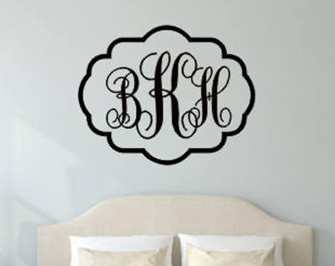 Vine Monogram Decal Large Vinyl Wall Decal with Border Bedroom Housewares Home Decor