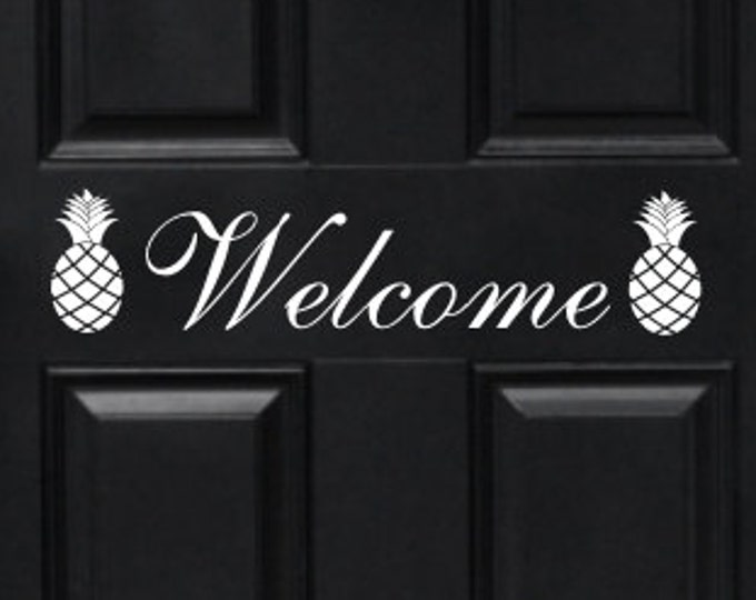 Welcome Door Decal Welcome with Pineapples Decal Pineapple Door Decal Welcome Pineapple Tropical Door Decal Vinyl Decal Vinyl Door Letters