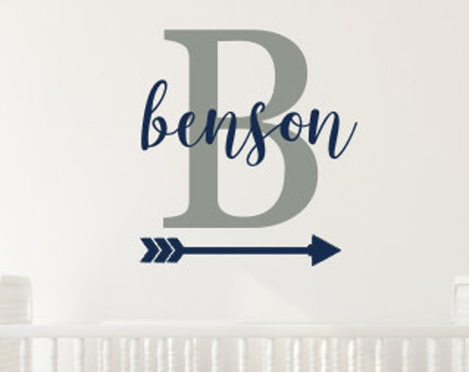 Personalized Decal Boys Vinyl Wall Decal Nursery Decor Name Initial and Arrow Tribal Wall Decal Trendy Adventure Themed Nursery Decor Vinyl
