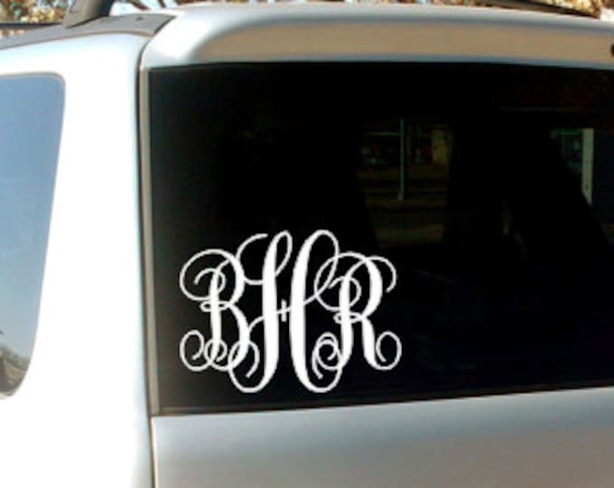 Vine Monogram Car Window Decal Personalized Custom Vinyl Decal Everything Else Preppy Southern Car Decal