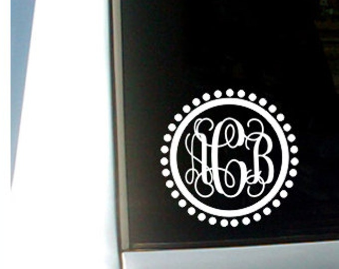 Vine Monogram Decal Personalized Decal Car Window Decal Preppy Car Decal Initial Car Decal Polka Dot Border Decal Girls Teen Vinyl Decal