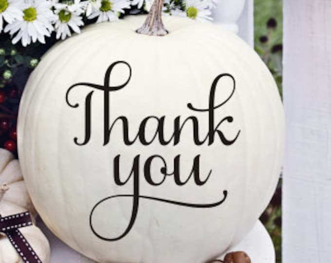Thank You Decal Pumpkin Decal for Fall Wedding Couples Photo Prop Decal Only Small Vinyl Thank You Elegant Wedding Decor