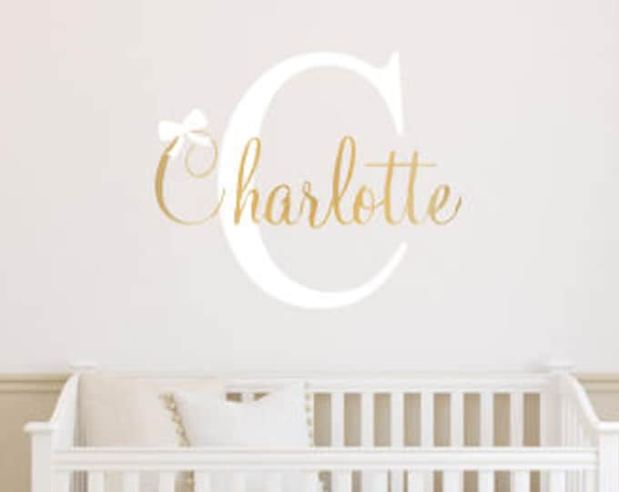 Girls Name Decal -Name Initial and Bow -Girls Wall Decal- Personalized Girls Nursery Decal -Baby Nursery Decal- Gender Neutral Decal