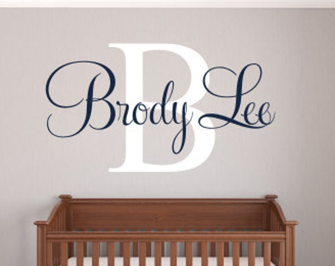 Personalized Monogram Decal Vinyl Wall Decal Boy Girl Nursery Bedroom Wall Decals Fancy Script Wall Decal Vinyl Initial Name Decal