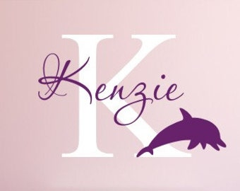 Personalized Dolphin Decal Vinyl Wall Decal Dolphin Decal Girls Nursery Bedroom Decal Dolphin Wall Decal Vinyl Decal Girls Home and Living