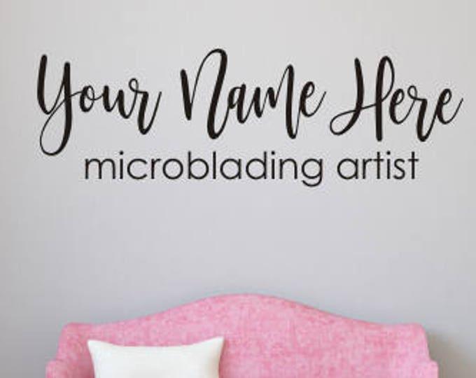 Custom Microblading Decal Eyebrow Artist Personalized PMU Artist Wall Decal Window Decal Vinyl Decal for Studio Salon Name Wall Decal