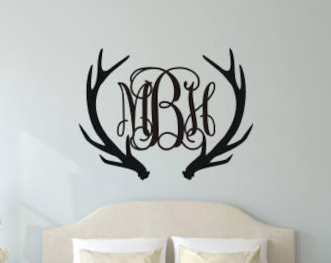 Antler Monogram Decal Antler Monogram Wall Decal Large Vinyl Wall Decal Housewares Vinyl Wall Decals Personalized Deer Buck Antlers Decal