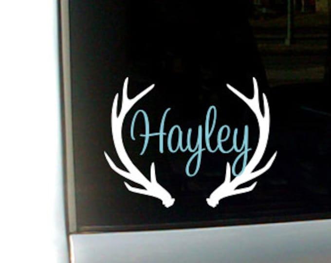 Antler Name Decal Antler Monogram Antler Name Decal Vinyl Decal Car Decal Name with Antlers Hunting Decal Girls Hunting Decal Car