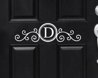 Monogram Door Decal Vinyl Decal for Front Door Porch Curb Appeal Scroll Monogram Initial Decal for Door Elegant Fancy Ornate Door Decor