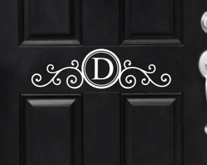 Monogram Door Decal Vinyl Decal for Front Door Porch Curb Appeal Scroll Monogram Initial Decal for Door Elegant Fancy Ornate Door Decor