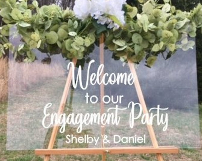 Engagement Decal Welcome to our Engagement Party Celebration Vinyl Decal Wedding Decor Decal for Sign Chalkboard Mirror Plexiglass Custom