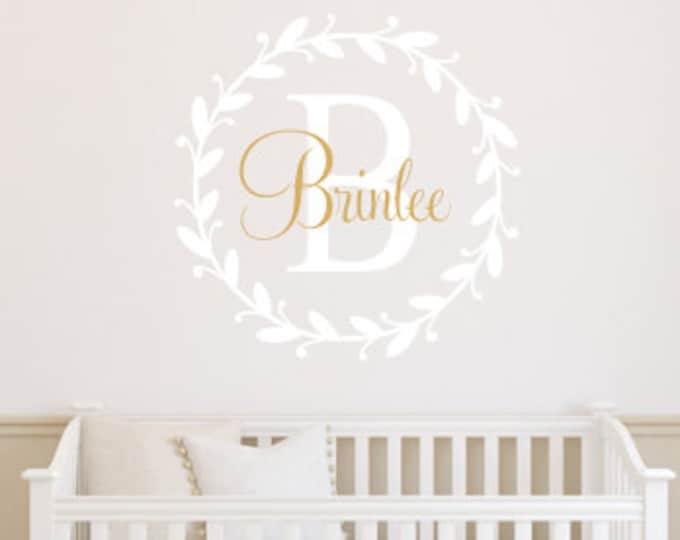Girls Wall Decal Baby Nursery Decor Vinyl Lettering Wreath Monogram Decal Initial Name Personalized Wall Decal Gold Wall Decal Girls Twig