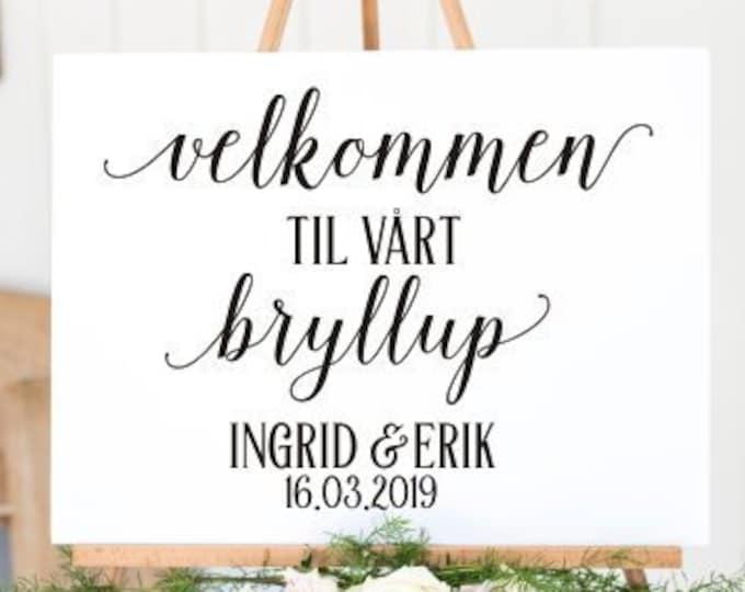 Norwegian Wedding Decal Velkommen Bryllup Vinyl Decal for Wedding Sign Wedding Decoration Norwegian Wedding DIY Lettering for Sign
