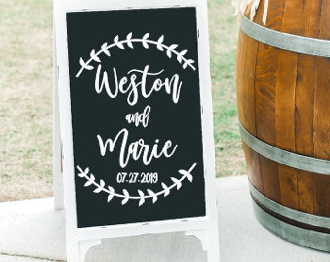 Personalized Wedding Decal Vinyl for Sign Wedding Decal for Chalkboard Reception Decal Shower Decal Couples Shower Vinyl Names and Date
