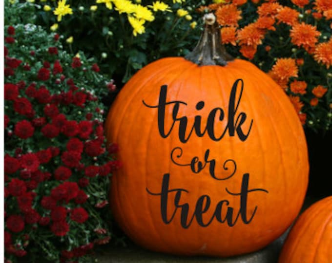 Trick or Treat Decal Small Pumpkin Decal Halloween Decal Halloween Pumpkin Holiday Decor Porch Entryway Decor Halloween Trick or Treat Vinyl