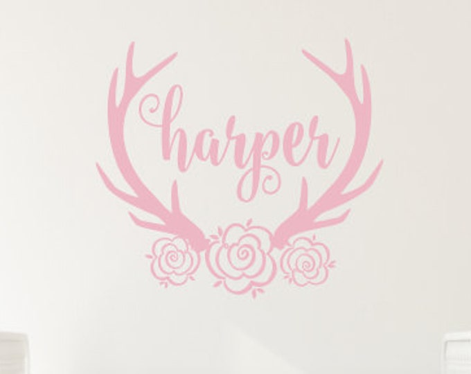 Floral Antler Decal Floral Antler Name Decal Wall Decal Girls Nursery Decal Rustic Decal Name Flowers Antlers Girls New Baby Trendy Wall