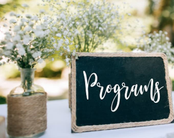 Programs Decal Wedding Vinyl Decal for Chalkboard Sign Vinyl Decal Only DIY Programs Wedding Decor Handwritten Style