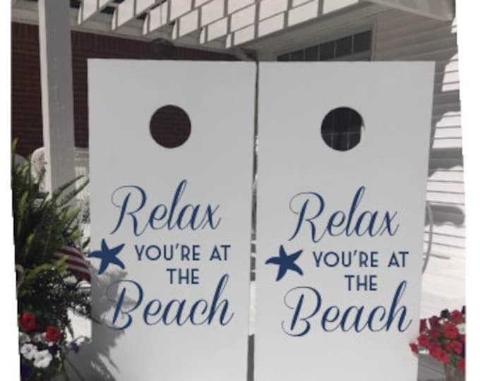 Relax You're at the Beach Cornhole Decals Set of Two Cornhole Board Decals Beach Decals Starfish Beach Vinyl Decals Nautical Ocean Beach