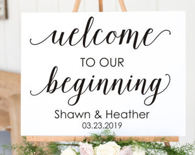 Welcome Wedding Sign Decal Vinyl Decor Wedding Welcome To Our Beginning Personalized Decal for Wedding Names and Date