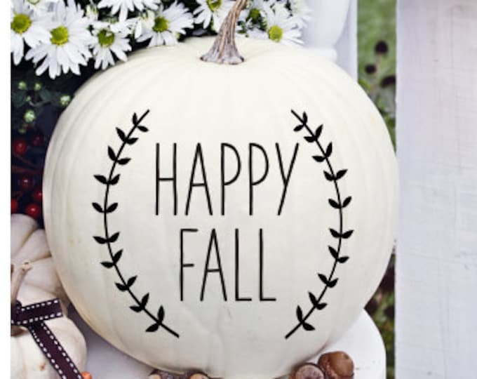 Happy Fall Decal Pumpkin Decal Small Vinyl with Laurels Fall Seasonal Farmhouse Style Decal Farmhouse Handwritten Font Pumpkin Vinyl Decal