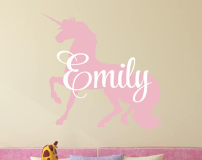 Unicorn Wall Decal Girls Nursery Decor Girls Bedroom Magical Pastel Unicorn Vinyl Wall Decal with Name Personalized Wall Decor Name Decal