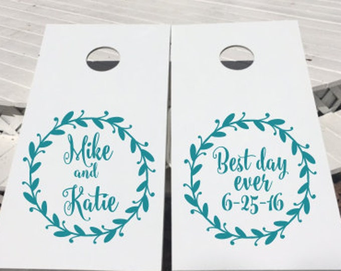 Wedding Cornhole Decals Cornhole Board Decals DIY Wedding Decals Set of Two Metallic Gold Rustic Wedding Decals Wedding Decor Personalized