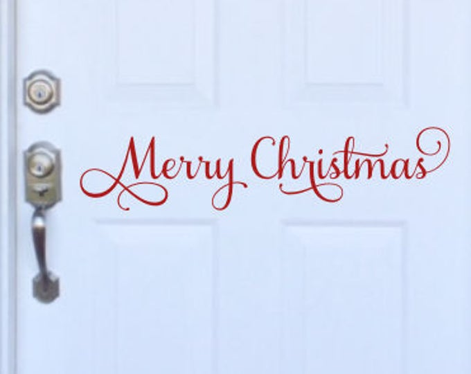 Merry Christmas Decal Holiday Door Decal Front Porch Curb Appeal Seasonal Wall Decal Christmas Vinyl Christmas Decal