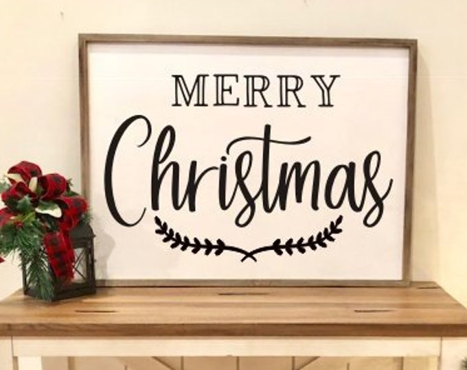 Merry Christmas Decal Vinyl Decor Holiday Seasonal Rustic Decor Farmhouse Decal Merry Christmas with Laurels Decal for Sign Making