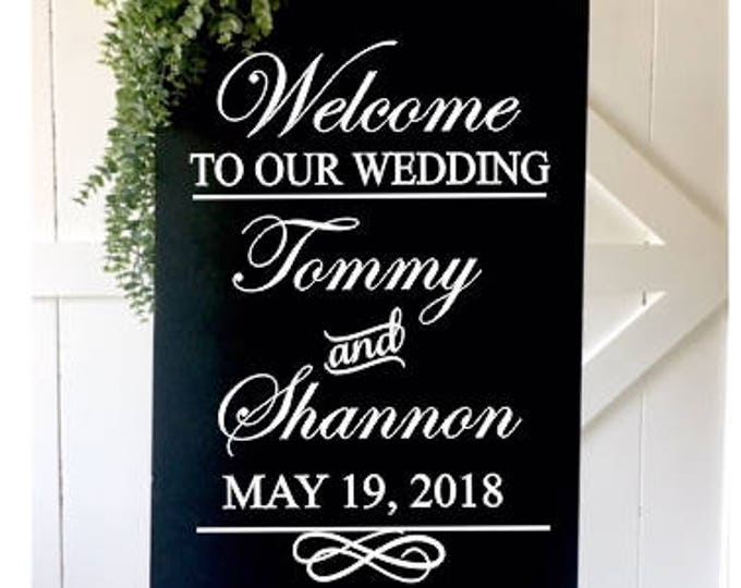 Wedding Decal Couples Wedding Sign Traditional Fancy Script Wedding Decal Formal Wedding Personalized Decal Names and Date Wedding Decor