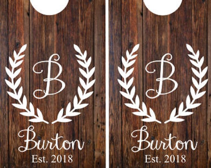 Cornhole Decals- Wedding Sign- Vinyl Decals- Set of Two Rustic Wedding Decor- Personalized Monogram Decals- DIY Decals for Wedding Cornhole