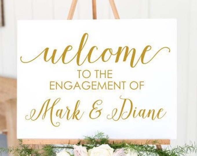 Engagement Decal Wedding Sign DIY Lettering for Engagement Party Personalized Couples Decal Wedding Party Decor Vinyl Decal