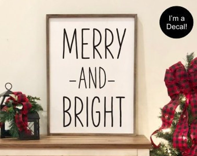 Merry and Bright Decal-Vinyl for Christmas Sign-DIY Lettering for Chalkboard-Farmhouse Decal for Christmas-Holiday Decorations-Seasonal