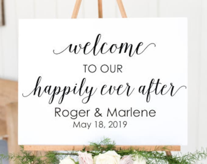 Happily Ever After Wedding Decal Vinyl Decor Wedding Sign Decal DIY Lettering Names and Date Personalized Elegant Wedding Decal