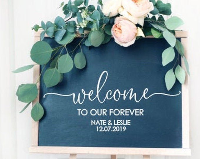 Welcome Wedding Decal Vinyl Decal for Wedding Welcome Sign DIY Vinyl Lettering Decal for Mirror Wedding Chalkboard Decal Shower Couples