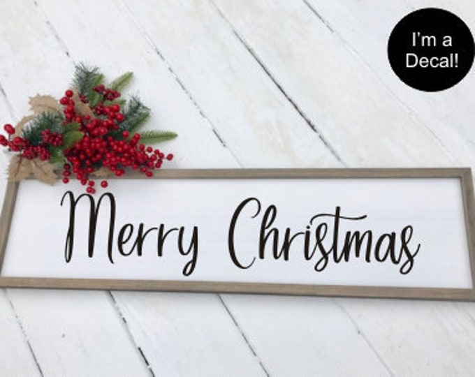 Merry Christmas Decal Vinyl Decor Rustic Farmhouse Decal DIY Decal for Sign Making or Chalkboard Holiday Door Decal