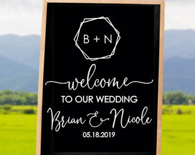 Modern Wedding Decal Minimalist Vinyl Sign for Wedding Hexagon Welcome Wedding Decal with Names and Initials Vinyl Decal DIY Lettering
