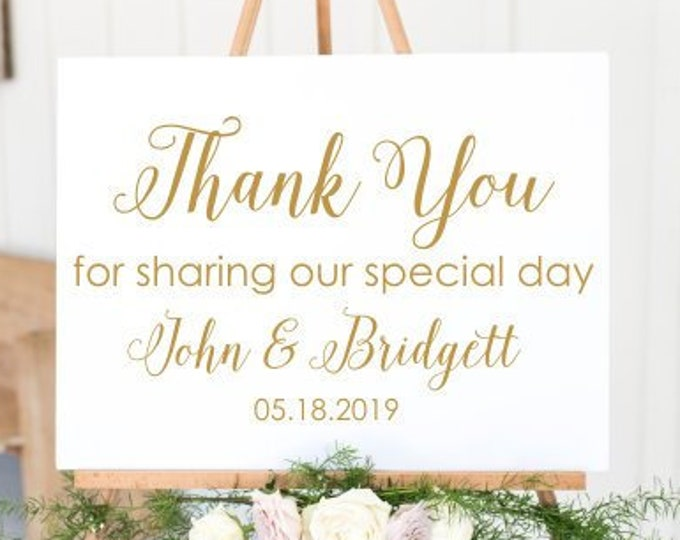 Thank you Wedding Decal Thank you for sharing our Special Day Sign for Wedding Ceremony Vinyl Decal Modern Wedding Decor Minimalist