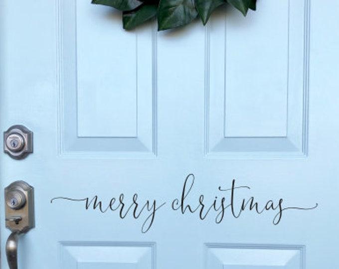Christmas Door Decal Merry Christmas Sticker for Front Door Holiday Vinyl Decal Seasonal Christmas Vinyl Decor Modern Script Merry Door