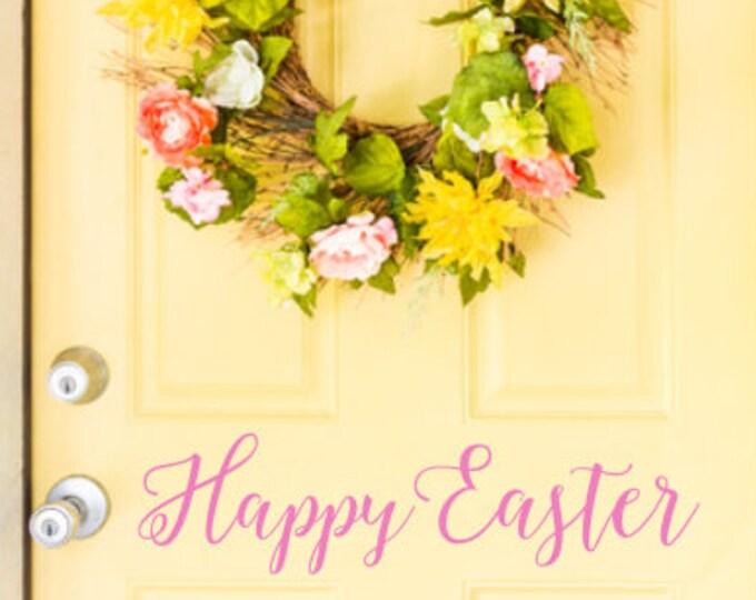 Happy Easter Decal- Vinyl Decal for Door- Spring Decal- Spring Decor- Seasonal Holiday Decor -Vinyl Wall Decal-Door Decal