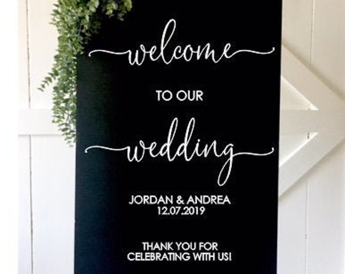 Welcome Wedding Decal for Sign Making Vinyl Decal for Wedding Decor Decal for Wedding Mirror or Chalkboard Modern Thank You Decal