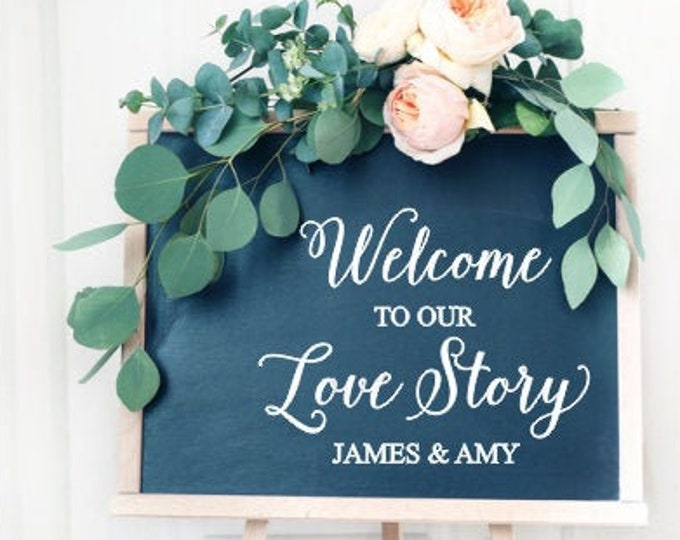 Welcome Wedding Decal Welcome to our Love Story Vinyl Decal DIY Lettering for Wedding Sign Wedding Decor Elegant Love Story Persoanlized