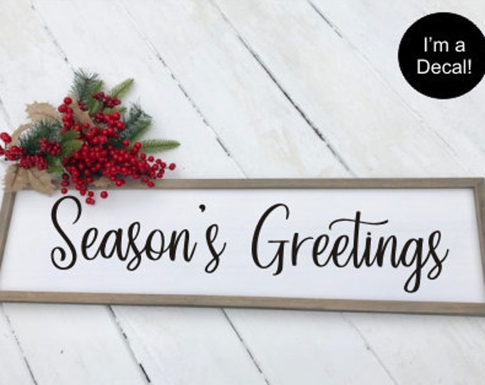 Season's Greetings Decal Vinyl Door Decal Christmas Decor Holiday Seasonal Rustic Decal for Sign Making Lettering DIY Vinyl Decal