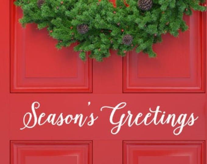 Season's Greetings Decal Vinyl Decor for Door Christmas Door Decal Vinyl Decal for Sign Making Holiday Seasonal Christmas Door Sticker