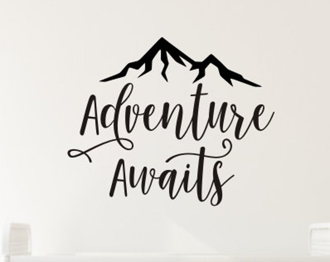 Adventure Awaits Decal Vinyl Wall Decor Boys Adventure Themed Nursery Mountain Peak Decal Mountain Wall Decal Boys Bedroom Decor Vinyl