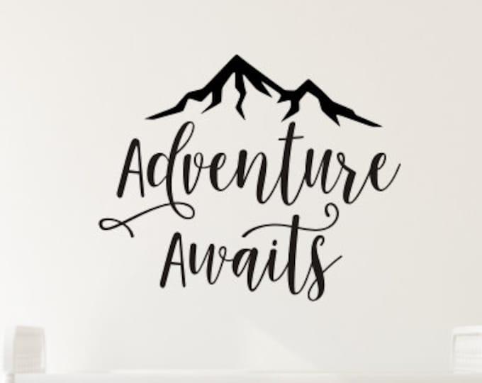 Adventure Awaits Decal Vinyl Wall Decor Boys Adventure Themed Nursery Mountain Peak Decal Mountain Wall Decal Boys Bedroom Decor Vinyl