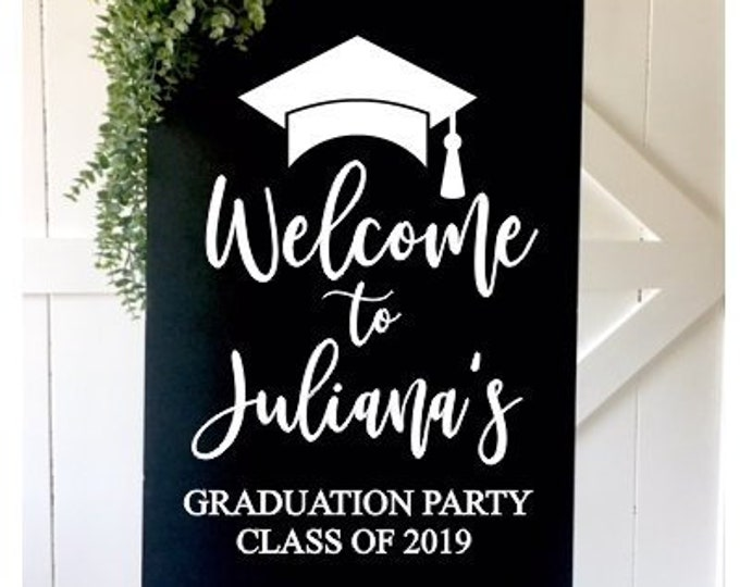 Graduation Party Decal for Sign Graduation Decal for Mirror or Chalkboard Decor for Grad Party Class of 2019 Personalized Vinyl Decal