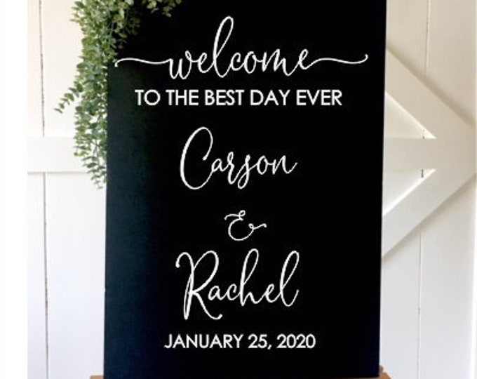 Best Day Ever Decal Best Day Ever Wedding Vinyl for Sign Decal for Mirror or Chalkboard Wedding Welcome Wedding Decor Modern Sign
