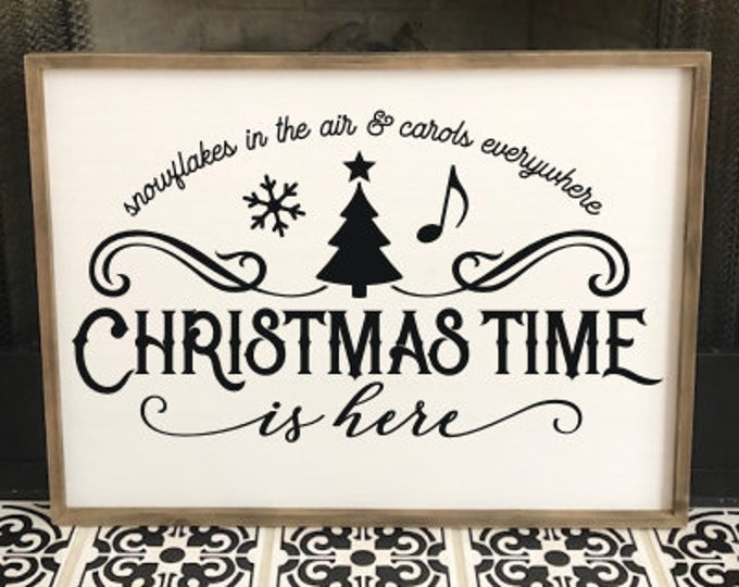 Christmas Time is Here Decal Vinyl Decor for Sign DIY Lettering Holiday Seasonal Rustic Farmhouse Christmas Decor Wall Decal Snowflakes