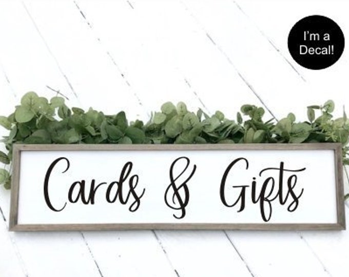 Cards and Gifts Decal Vinyl for Wedding Sign DIY Lettering Wedding Decoration Rustic Barn Wedding Cards and Gifts Vinyl